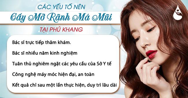 các yếu tốt nên cấy mỡ rãnh mũi má tại Phú Khang