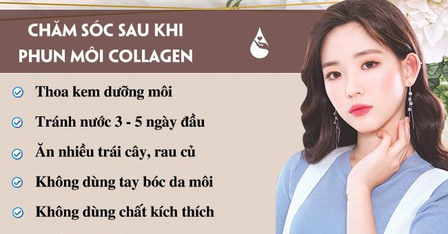 Chăm sóc sau khi phun môi collagen