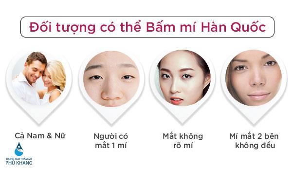 Đối tượng thẩm mỹ bấm  mí mắt Hàn Quốc