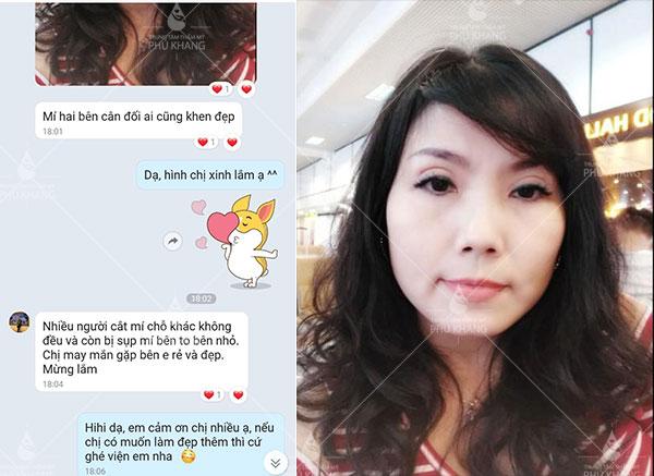 Phản hồi của khách hàng sau khi cắt mí mắt tại Phú Khang